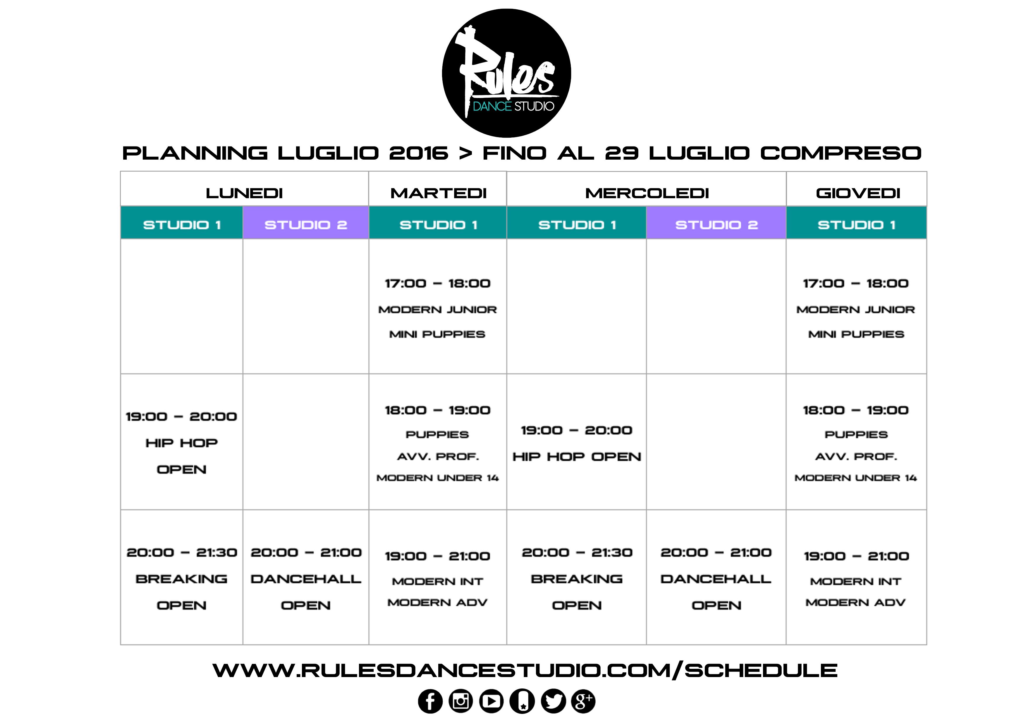 Planning Luglio 2016